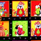 Christmas Puppy Dog Squares/Paw Prints on black fabric FQ
