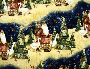 Christmas Old time Santa & Geese Fabric FQ -rare