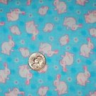Easter Banny Rabbits on blue Cotton Fabric
