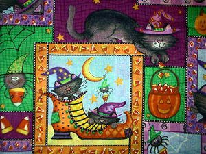 Halloween witch cat in a shoe  Fabric FQ
