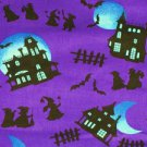 Halloween Spooky Hollow, Haunted Houses, Witches and Bats Fabric FQ