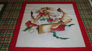 Christmas Bear in gift box fabric pillow Panel
