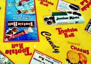 Old Adds Tootsie Roll, Junior Mints, Orange Charms Fabric FQ -rare Fat Quarter
