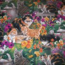 Cats in a garden fabric for quilt