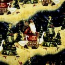 Christmas Old time Santa & Geese Fabric FQ  Fat Quarter - rare