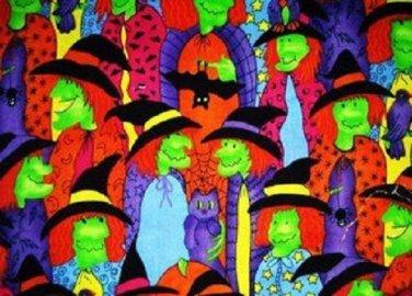 Halloween Green Face Witch Fabric FQ Fat Quarter