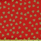 Valentine's Gold Hearts on Red Fabric FQ Fat Quarter
