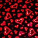 Valentine's MULTI-COLOR Hearts on BLACK Fabric FQ Fat Quarter
