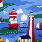Lighthouses Blue West Coast Sailboats Nautical Kids fabric FQ