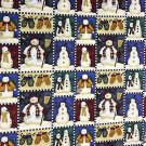 Debbie Mumm Christmas Snowman blocks fabric FQ