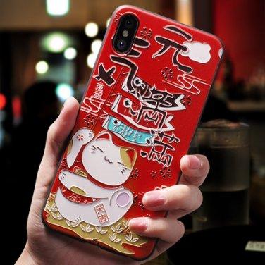iPhone X Apple case - Money-bringing cat