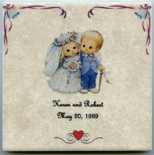 """Customized Wedding Ceramic Tile 6"""" x 6"""" Your Names and Wedding Date Personalized"""