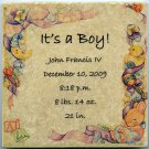 Customized Baby Announcement on 6 x 6 in. Ceramic Tile Personalized It's a Boy!