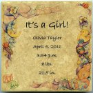 Customized Baby Announcement 6 in x 6 in Ceramic Tile Personalized It's a Girl!