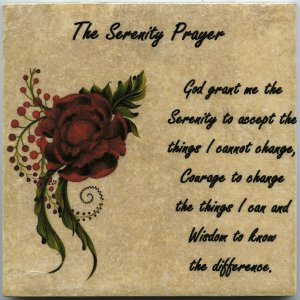 "The Serenity Prayer on 6"" x 6"" Ceramic Tile Flower Courage Wisdom AA"