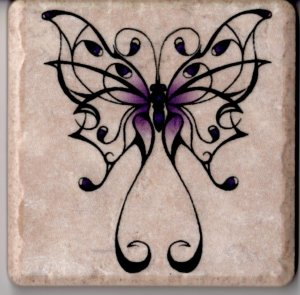 "Fancy Purple Butterfly on 4"" x 4"" Ceramic Tile Wall Art Decor Coaster Display"