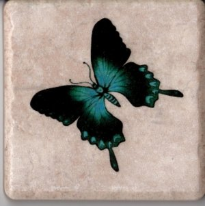 """Blue Butterfly Adorns This 4"""" x 4"""" Ceramic Tile Coaster, Wall Art, Paperweight"""