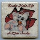 Two Sweet Bear Buddies Friends Make Life A Little Sweeter Ceramic Tile Color