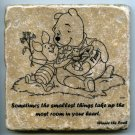 "Winnie the Pooh Sometimes the Smallest Things Wall Art Coaster Natural Stone Piglet 4"" x 4"""