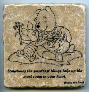 """Winnie the Pooh Sometimes the Smallest Things Wall Art Coaster Natural Stone Piglet 4"""" x 4"""""""