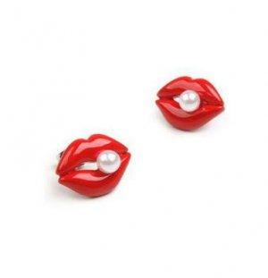 Betsey Johnson Pearl Lip Earrings