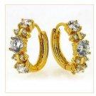 18K Gold Zircon Huggie Hoop Earrings
