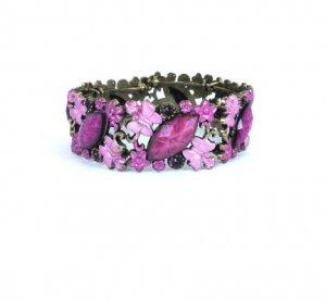 Colorful Open Cuff Bronze Butterfly Rhinestone Bracelet