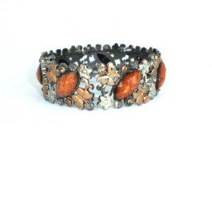 Butterfly Colorful Open Cuff Bronze Rhinestone Bracelet