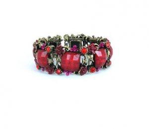 Colorful Open Cuff Bronze Rhinestone Bracelet