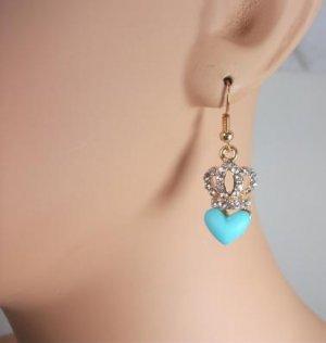 14K Gold Plated Rhinestone Crown Heart Earrings