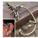 Silver Gothic Dragon Ear Cuff Earring