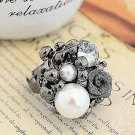 Dark Metal Pearl Flower Adjustable Ring