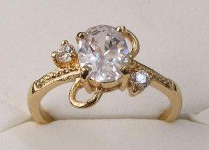 14K Gold Zircon Ring Size 7