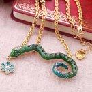 Betsey Johnson Rhinestone Snake Flower Necklace
