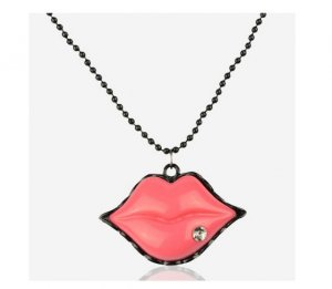Pink Rhinestone Lips Necklace