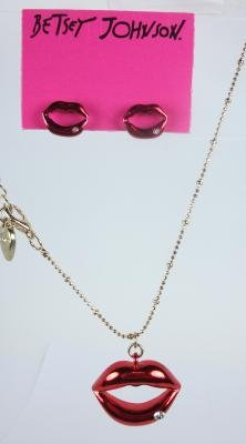 Betsey Johnson Rhinestone Lip Necklace and Earrings Set