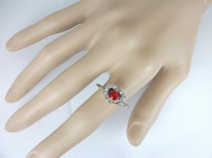 Silver Plated Red CZ Heart Ring Size 9 1/2