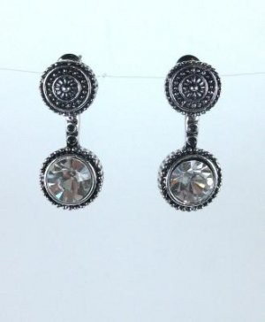 Tibetan Silver Crystal Dangle Earrings
