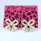 Betsey Johnson Pearl Bow Tie Earrings