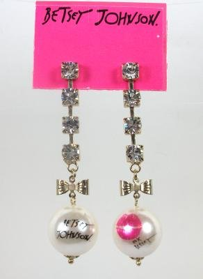 Betsey Johnson Rhinestone Bow Tie Pearl Kiss Earrings