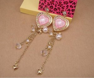 Betsey Johnson Pearl Heart Dangle Earrings