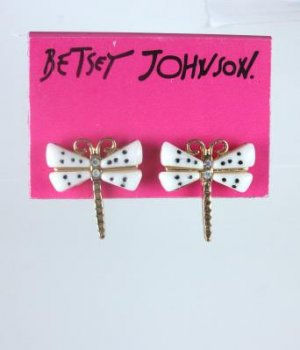 Betsey Johnson Rhinestone Dragon Fly Earrings