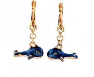 Betsey Johnson Rhinestone Whale Dangle Earrings