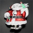 Christmas Enamel Rhinestone Santa Pin Brooch