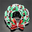 Christmas Rhinestone Wreath with Bow Pin Brooch