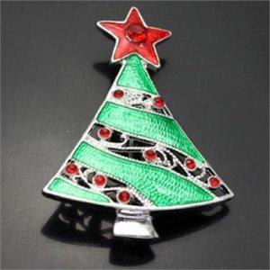 Christmas Enamel Rhinestone Tree Pin Brooch
