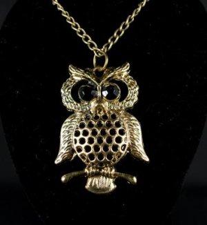 Bronze Rhinestone Owl Necklace