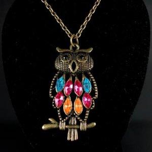 Bronze Multi Color Rhinestone Owl Necklace