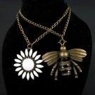 2 piece Bronze Enamel Bee and Flower Necklace Set