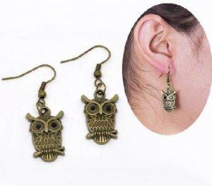 Bronze Rhinestone Owl Earrings
